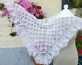 Wedding Shawl Haruni - Bridal shawl - hand knitted shawl
