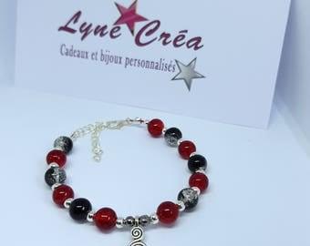Bracelet trendy crackled glass beads
