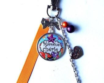 "Keyring - GODMOTHER ""Sweetheart godmother"" / personalized/gift bag"
