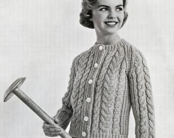 Knit Cable Braid Cardigan - 1950s Knitting Pattern