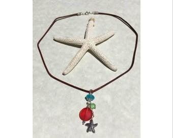 Genuine Sea glass & Leather pendant