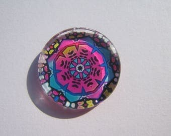 Cabochon 25 mm round and flat with colorful mandala image