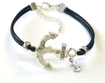 black leather and rhinestone anchor bracelet