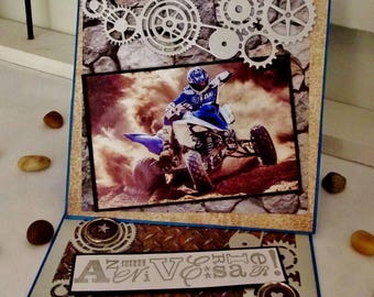 Man or boy size easel, 3D, handmade birthday card handmade Quad - CH014