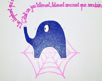 Table child's room baby girl or baby pink and purple elephant hand painted