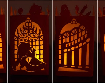 Beauty & The beast inspired paper lantern