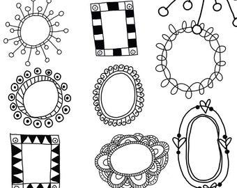 Doodle Frames Clip Art Graphics PNG