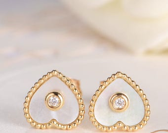 Mother of Pearl Stud Earrings Gold Butterfly Diamond Unique Beaded Antique Bezel Set Clover Birthday Graduation Bridal Wedding Gift 2pcs