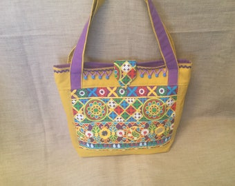 Ethnic tote bag, mustard yellow canvas and Indian embroidered fabric.