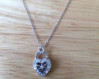 Petite 925 Silver Heart CZ Pendant.