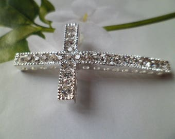 Church Silver Cross and rhinestone 5 Cm
