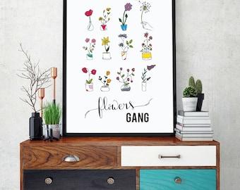 Affiche Poster Flowers gang Typographie Calligraphie colorful floral - Fleurs en pot