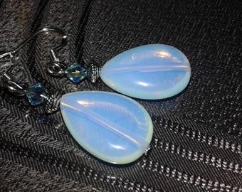handcrafted earrings Opal drop shape beads
