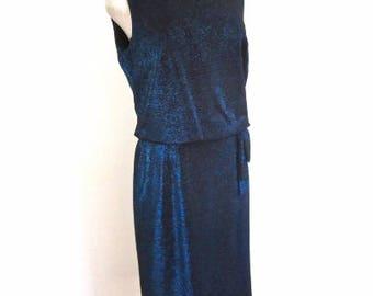 L 50s Lurex Cocktail Party Dress Sheath Wiggle Sparkle Blue Black Sleeveless Button Back Pencil Skirt Large