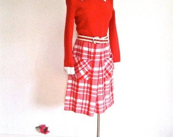 M L 60s 70s Mod Vintage Dress Orange Long Sleeve White Collar Wooly Plaid Skirt Pockets by Sutton Place Medium Large