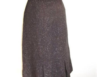 S M 50s Skirt Flecked Wool Brown Pink White Pencil VLV Sexy Secretary Classic Vintage Medium