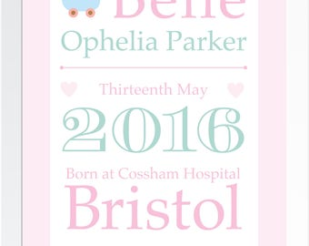 Personalised A4 baby birth keepsake print