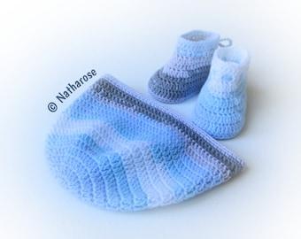 Bonnet et chaussons bébé 0/2 mois bleu blanc gris