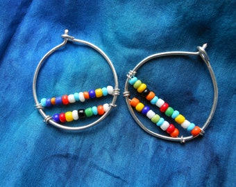 Small loop earrings silver wire and indian beads