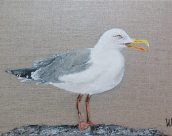 Bird 'Seagull' painting, animal painting on natural linen.