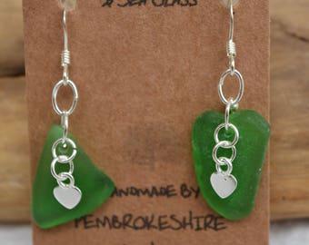 Handmade sterling silver &  sea glass earrings