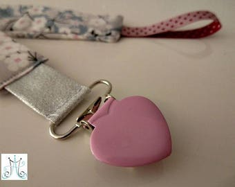 Pacifier clips pink heart - Liberty mitsi gray Dove
