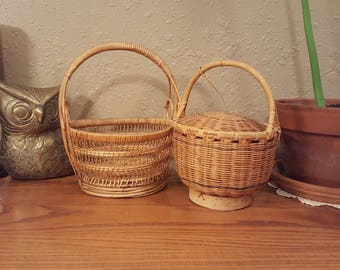 Vintage baskets with handles.   Lacy and delicate/sturdy attached lid.  Boho baskets.