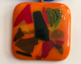 Fused Glass Pendant, Fall leaf colors