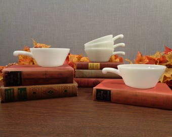 Five Milk Glass Bowls with Handles, Chili Bowls, Soup Crocks, Anchor Hocking Style