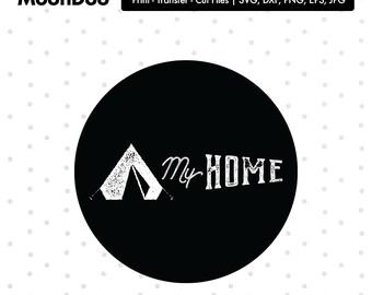 My home Svg, Camper Svg, Tent SVG, Camp Svg, Monogram Svg, Silhouette Cricut Vector Cut Vinyl Sign Custom Tshirt Tote Mug Iron On Transfer