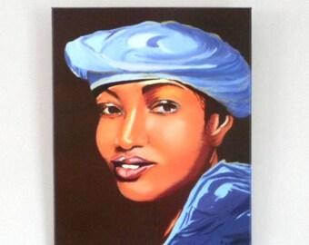 Portrait-oil on canvas - the young Tuareg
