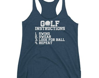 Funny Golf Instructions Women's Racerback Tank