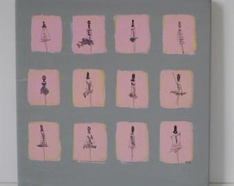 Peinture sur bois acrylique gris et rose dessin femmes miniatures en série façon mosaïque