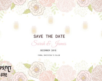 Save the Date, Floral, custom made