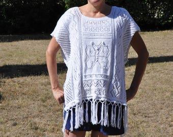 Poncho, shawl, needles, 100% cotton hand knitted Cardigan