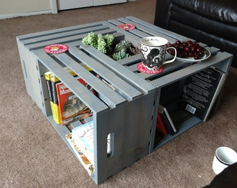 Custom Wooden Crate Coffee Table W/ Succulent Garden