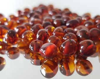 Baltic Amber Beads /  Polished Amber Beads / Cognac Amber Beads / With Drilled Hole /  Jewelry making / Genuine Amber Beads 7-9 mm wholesale