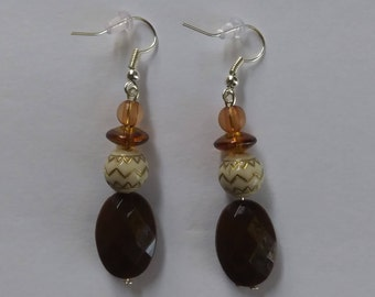 Brown Earrings/ Brown and White Beaded Dangle Earrings/ Brown Dangle Earrings