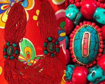 Necklace ethnic red multi-row