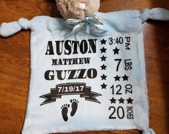 Personalized Birth Announcement Bunny Blankie