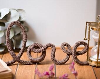 Organic vegan knitting Word, home decor, bedroom, living room