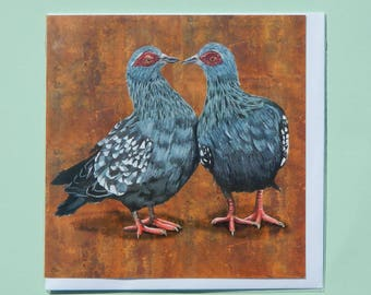 African Rock Doves Greetings Card