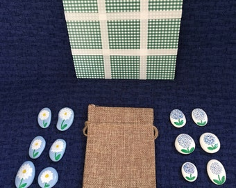 Tic-Tac-Toe Game and Gift using Hand-painted, Surf Tumbled Stones - Summer Garden Showdown Hydrangea v Daisy