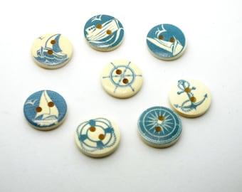 Nautical wooden buttons 15mm