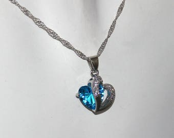 """Crystal Heart Necklace silver heart"" necklace"