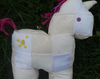Homemade My Little Pony Plush OOAK Moondancer White Unicorn,  Ribbon Mane and Tail, Button Eyes and G1 Moon Stars Cutie Mark