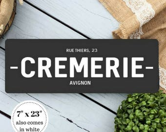 7 x 23 Cremerie Wood Sign - French Country Decor - Farmhouse Decor - Kitchen Sign - Rustic Sign - Fixerupper Decor - Fixerupper Sign
