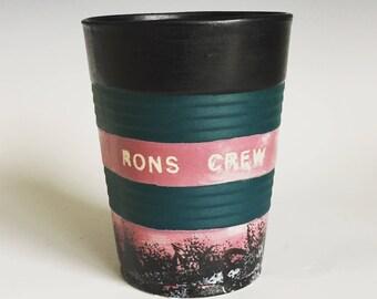 RONS CREW!  Ceramic Cup, Casted Solo Cup, Matte Black, Graffiti, a Perfect Sipper....