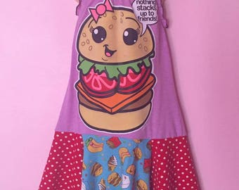 Girls Upcycled Halter dress, burger dress, summer dress 6/7