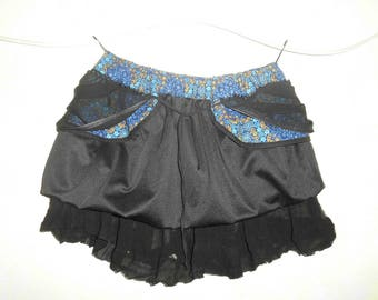 Short black jersey skirt lined voile